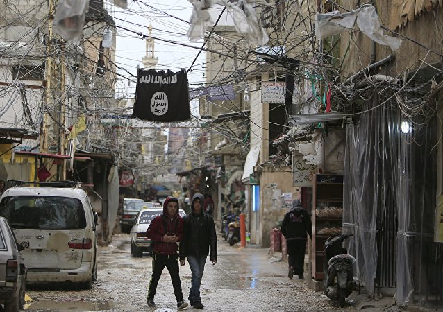 Youth walk under an Islamic State flag in Ain al-Hilweh Palestinian refugee camp, near the port-city of Sidon, southern Lebanon January 19, 2016