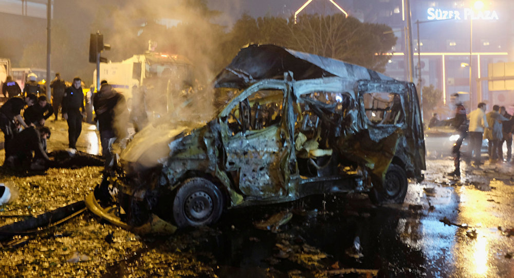 A damaged vehicle is seen after a blast in Istanbul, Turkey, December 10, 2016
