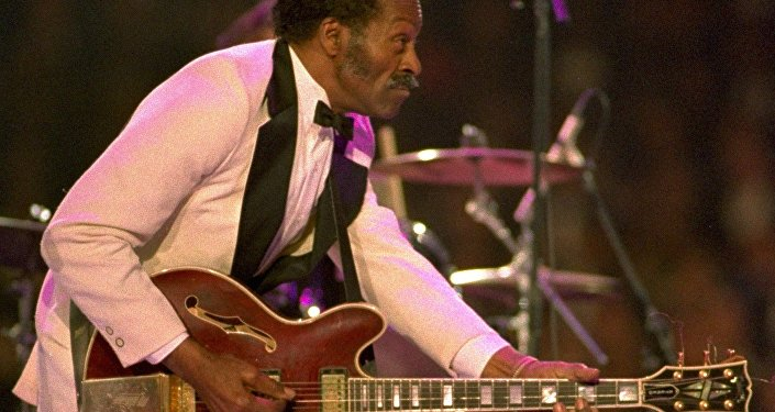 Chuck Berry dances on stage at the Presidential Gala for President-elect Clinton and Vice President Al Gore Tuesday night, January 19, 1993, at the Capital Centre in Landover, Md