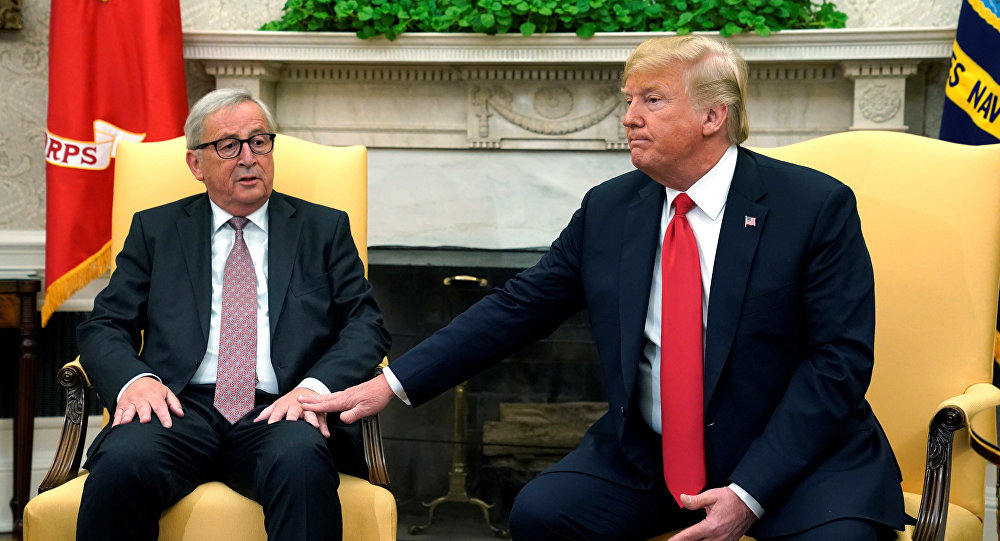 Trump meets with European Commission President Juncker at the White House in Washington