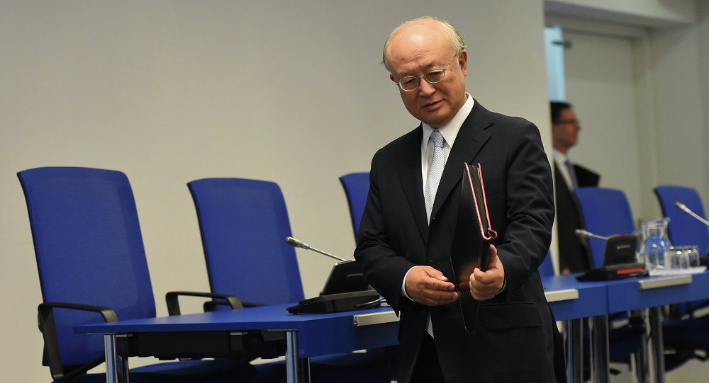 Yukiya Amano, director general of the International Atomic Energy Agency (IAEA), arrives for a press conference of the IAEA Board of Governors Meeting at IAEA headquarters in Vienna, Austria on August 25, 2015