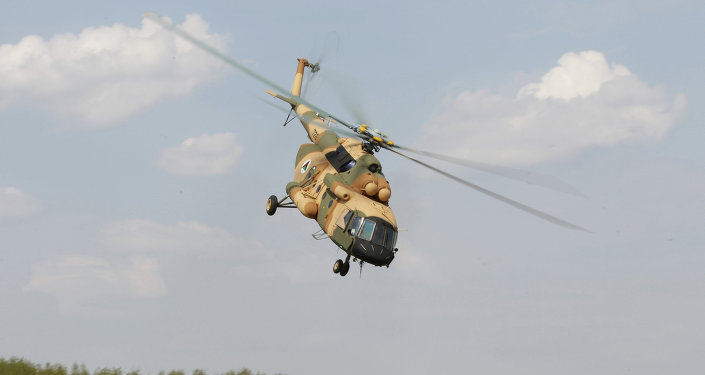 A Mi-17 V-5 helicopter is demonstrated at the testing facility of the OAO Kazan Helicopter Plant, part of the Helicopters of Russia, a Russian helicopter building holding