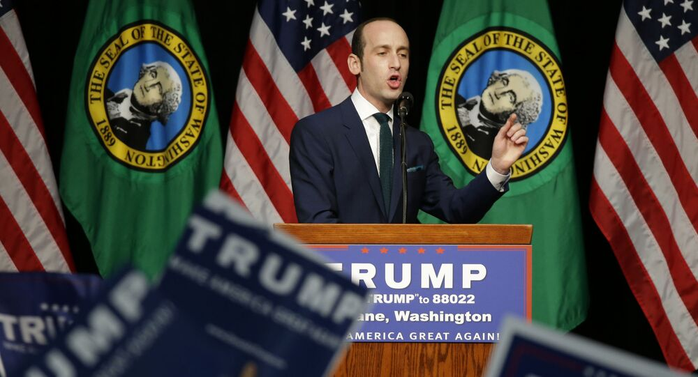 Stephen Miller, a policy advisor to Republican presidential candidate Donald Trump, speaks during a rally in Spokane, Wash., Saturday, May 7, 2016.