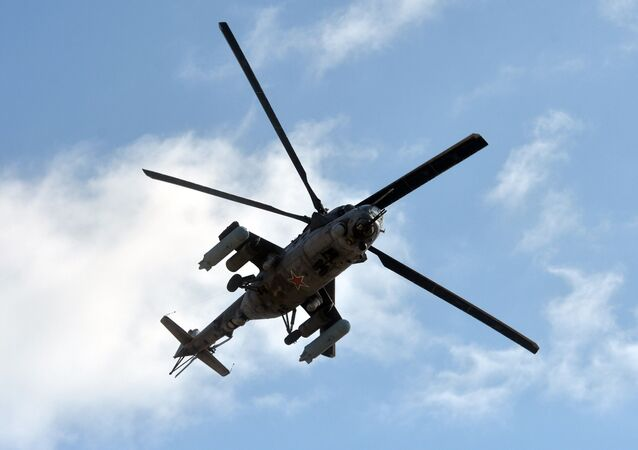 Russian military helicopter Mi-24 (NATO reporting name: Hind) seen during the Kavkaz-2020 war games.