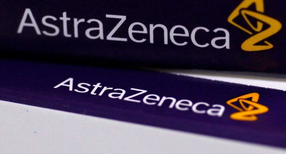 FILE PHOTO:The logo of AstraZeneca is seen on medication packages in a pharmacy in London