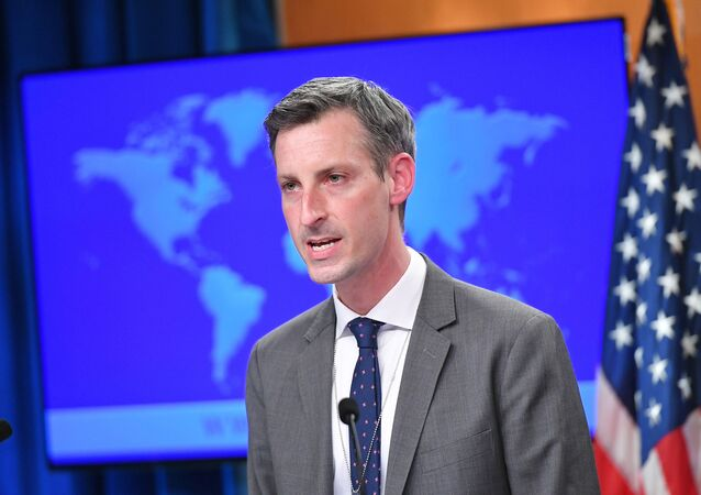 U.S. State Department spokesman Ned Price speaks during the release of the 2020 Country Reports on Human Rights Practices at the State Department in Washington, DC, U.S., March 30, 2021.