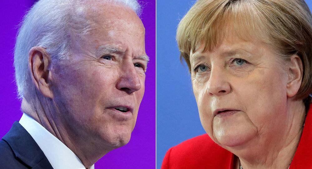 This combination of pictures created on July 14, 2021 shows US President Joe Biden in Washington, DC on July 2, 2021 and German Chancellor Angela Merkel in Berlin on May 6, 2020. - US President Joe Biden will participate in a bilateral meeting with Dr. Angela Merkel, Chancellor of the Federal Republic of Germany on July 15 in Washington DC, this visit will affirm the deep and enduring bilateral ties between the United States and Germany.
