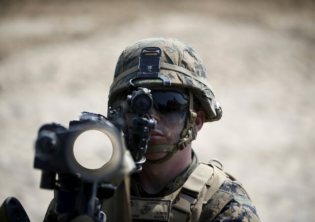 A U.S. marine participates in a U.S.-South Korea joint landing operation drill in Pohang March 30, 2015