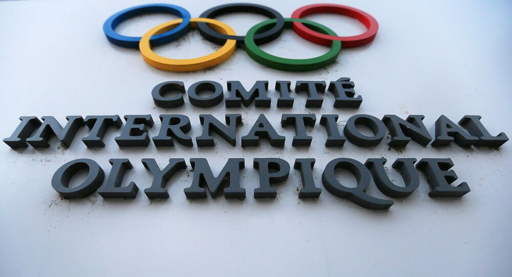 The sign of the International Olympic Committee (IOC) Headquarters in Lausanne
